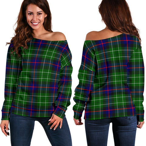 Tartan Womens Off Shoulder Sweater - Leslie Hunting