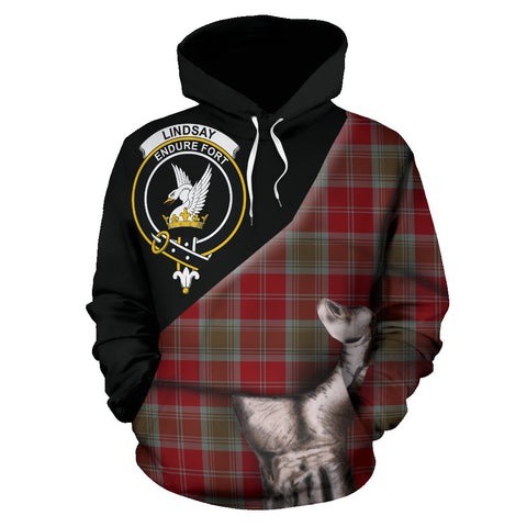 Image of Lindsay Weathered Tartan Clan Crest Hoodie Patronage HJ4