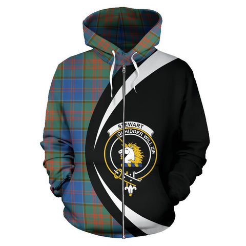 Image of Stewart of Appin Hunting Ancient Tartan Circle Zip Hoodie