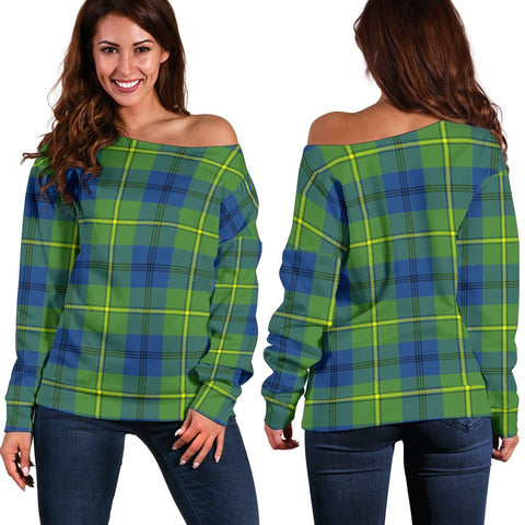 Image of Tartan Womens Off Shoulder Sweater - Johnston Ancient