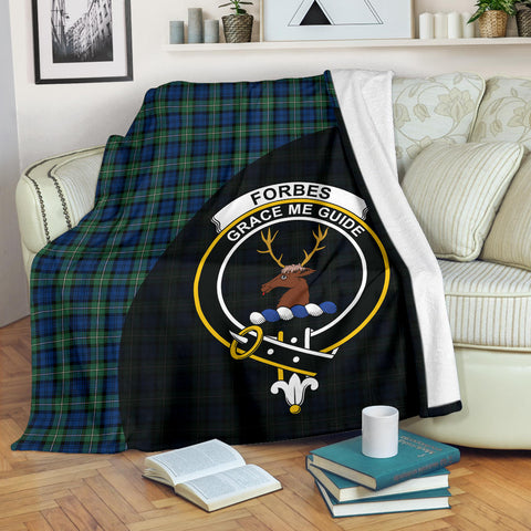 Forbes Ancient Tartan Clan Badge Premium Blanket Wave Style