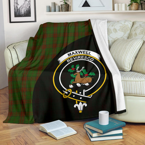 Image of Maxwell Hunting Tartan Clan Badge Premium Blanket Wave Style