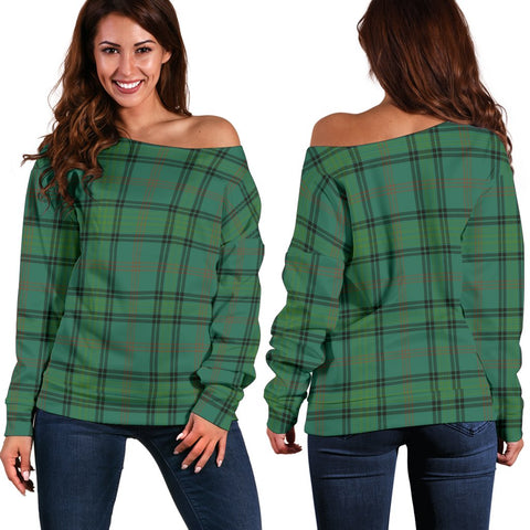 Tartan Womens Off Shoulder Sweater - Ross Hunting Ancient