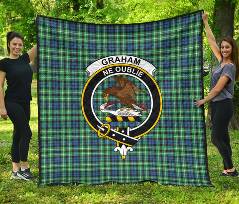 Graham of Montrose Ancient Tartan Clan Badge Premium Quilt | Scottishclans.co