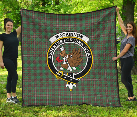 Image of MacKinnon Hunting Ancient Tartan Clan Badge Premium Quilt | Scottishclans.co