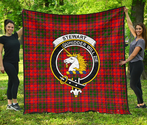 Stewart of Appin Modern Tartan Clan Badge Premium Quilt | Scottishclans.co