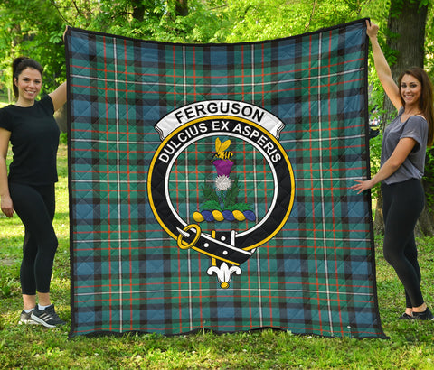 Image of FERGUSON ANCIENT Tartan Clan Badge Premium Quilt | Scottishclans.co