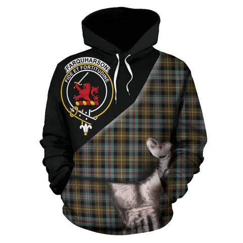 Image of Farquharson Weathered Tartan Clan Crest Hoodie Patronage HJ4