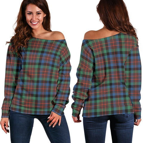 Image of Tartan Womens Off Shoulder Sweater - MacDuff Hunting Ancient