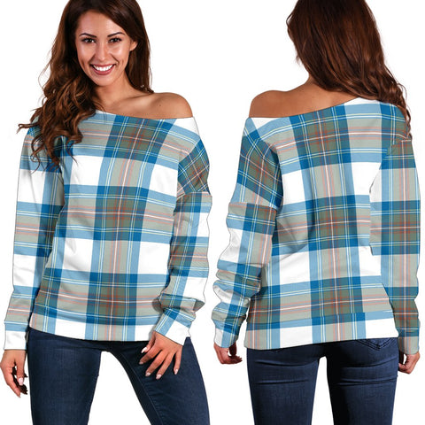 Tartan Womens Off Shoulder Sweater - Stewart Muted Blue