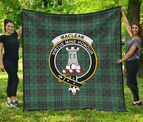 Image of MacLean Hunting Ancient Tartan Clan Badge Premium Quilt | Scottishclans.co