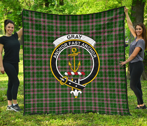 Image of Gray Hunting Tartan Clan Badge Premium Quilt | Scottishclans.co