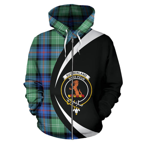 Sutherland Old Ancient Tartan Circle Zip Hoodie