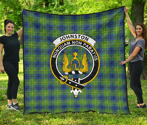 Johnston Ancient Tartan Clan Badge Premium Quilt | Scottishclans.co