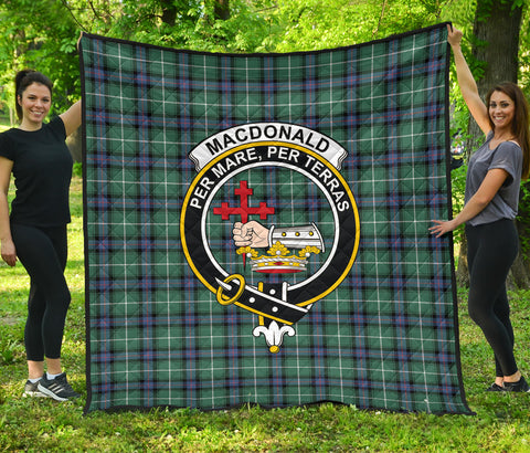 MacDonald of the Isles Hunting Ancient Tartan Clan Badge Premium Quilt | Scottishclans.co