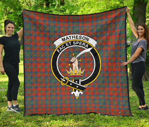 Matheson Ancient Tartan Clan Badge Premium Quilt | Scottishclans.co