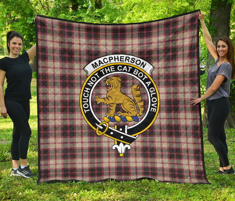 MacPherson Weathered Tartan Clan Badge Premium Quilt | Scottishclans.co