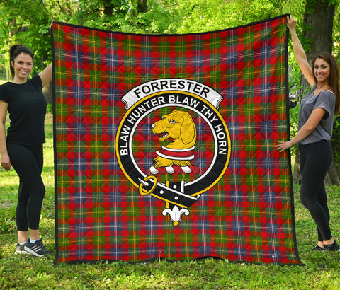 Forrester Tartan Clan Badge Premium Quilt | Scottishclans.co