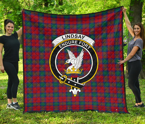 Lindsay Modern Tartan Clan Badge Premium Quilt | Scottishclans.co