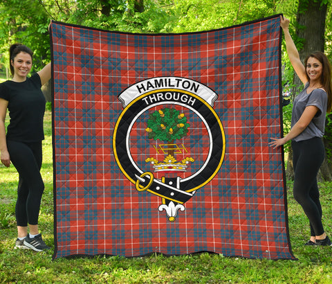 Hamilton Ancient Tartan Clan Badge Premium Quilt | Scottishclans.co