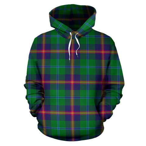 Young Modern Tartan Hoodie, Scottish Young Modern Plaid Pullover Hoodie