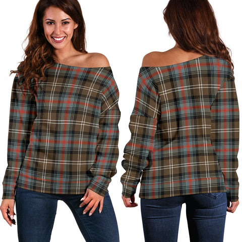 Tartan Womens Off Shoulder Sweater - Sutherland Weathered