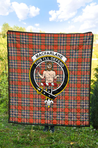 MacFarlane Ancient Tartan Clan Badge Premium Quilt TH8