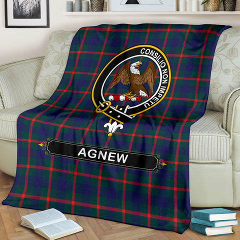 Agnew Crest Tartan Blanket | Tartan Home Decor | Scottish Clan