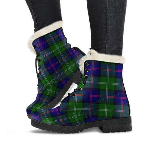 Image of Tartan Faux Fur Leather Boots