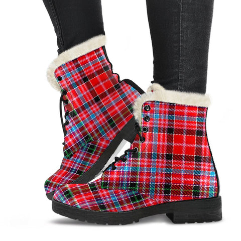 Tartan Faux Fur Leather Boots