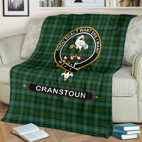 Image of Cranstoun Crest Tartan Blanket | Tartan Home Decor | Scottish Clan