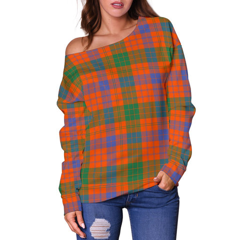 Image of Tartan Womens Off Shoulder Sweater - Ross Ancient - BN