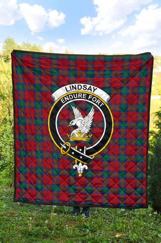 Lindsay Modern Tartan Clan Badge Premium Quilt TH8
