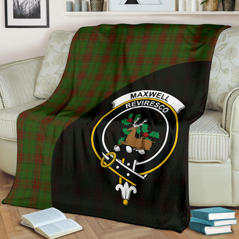 Image of Maxwell Hunting Tartan Clan Badge Premium Blanket Wave Style TH8