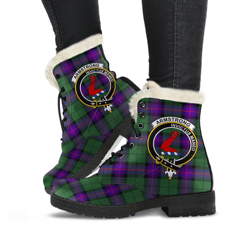 Image of Armstrong Modern  Tartan Faux Fur Leather Boots