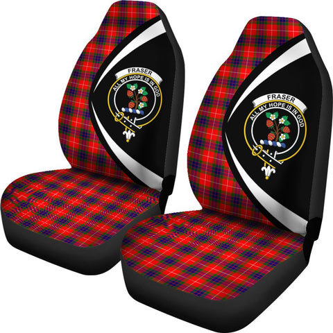 Fraser Modern Tartan Clan Crest Car Seat Cover - Circle Style HJ4