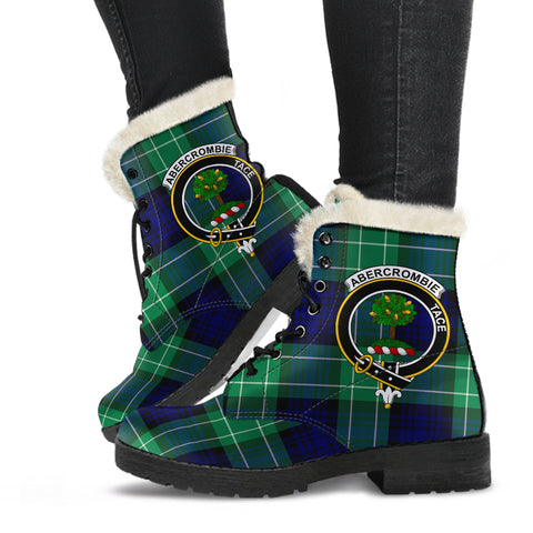 Image of Abercrombie Tartan Faux Fur Leather Boots