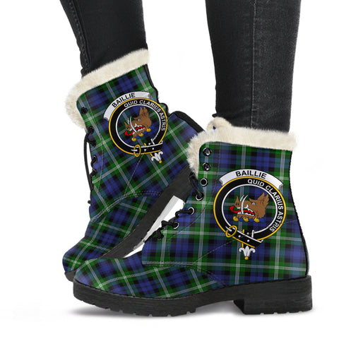 Baillie Modern  Tartan Faux Fur Leather Boots