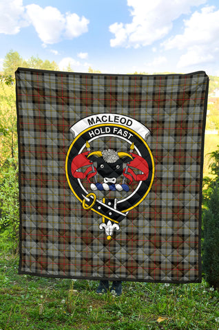 Image of MacLeod of Harris Weathered Tartan Clan Badge Premium Quilt TH8