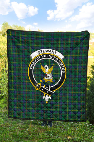 Image of Stewart Hunting Modern Tartan Clan Badge Premium Quilt TH8
