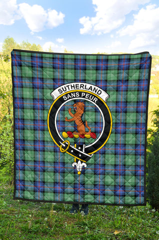 Sutherland Old Ancient Tartan Clan Badge Premium Quilt TH8