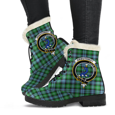 Arbuthnott  Tartan Faux Fur Leather Boots