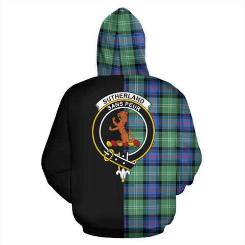 Sutherland Old Ancient Tartan Hoodie Half Of Me TH8