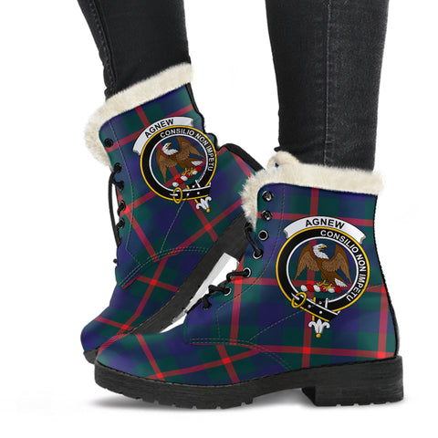Image of Agnew Modern  Tartan Faux Fur Leather Boots