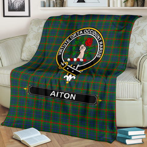Aiton Crest Tartan Blanket | Tartan Home Decor | Scottish Clan
