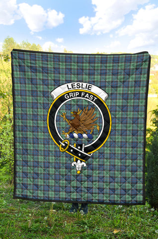 Image of Leslie Hunting Ancient Tartan Clan Badge Premium Quilt TH8