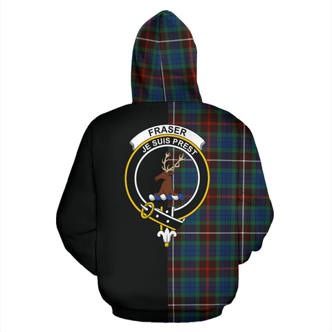 Fraser Hunting Ancient Tartan Hoodie Half Of Me TH8