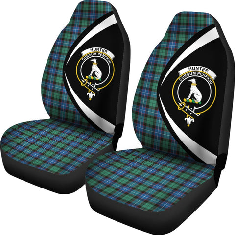 Hunter Ancient Tartan Clan Crest Car Seat Cover - Circle Style HJ4