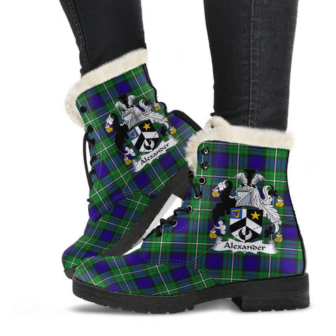 Alexander  Tartan Faux Fur Leather Boots