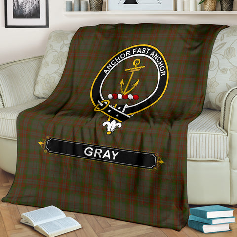 Gray Crest Tartan Blanket | Tartan Home Decor | Scottish Clan